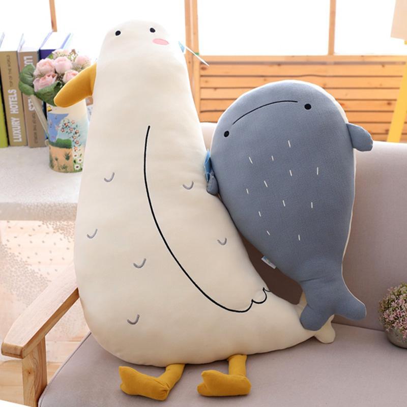 50cm Ins Brown Bear Fox Seagull Whale Doll Snares Girl Sleeps Plush Toys Super Soft Cloth Doll Cute PP Cotton
