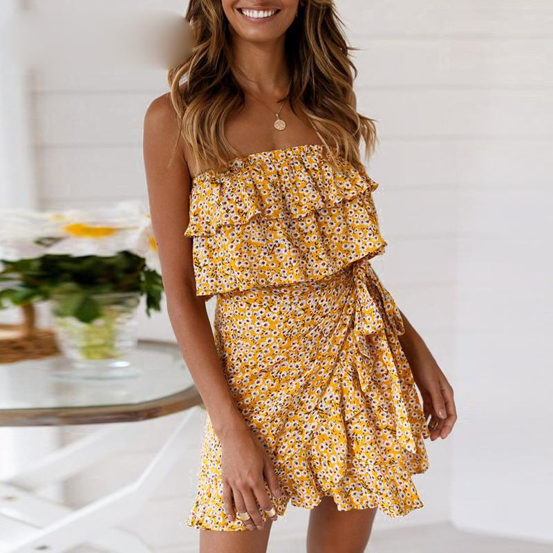 Frauen Kleidung Frauen Designer-Kleider Freizeitkleider Gelb Rüschen Blumenfrauen-Kleid-trägerlose Partei-Verpackungs-Kleid Strand-Kleider Vestidos