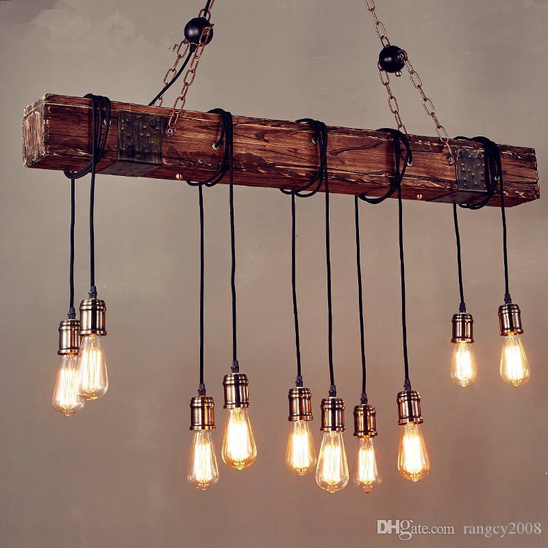 Rustikale Farbe Holz hängen Multi Anhänger Edison Beam 10 Licht E26 / E27 Birne 400W gemalt Bauernhaus Industrial Style Home Lighting