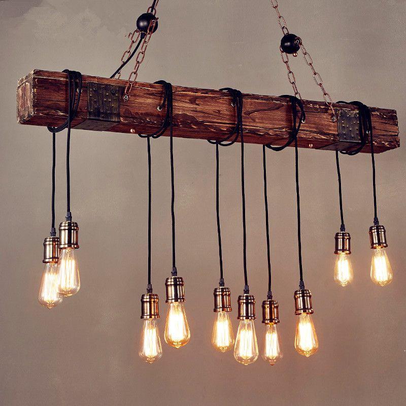 Rustic Color Wood Hanging Multi Pendant Edison Beam 10 Light E26/E27 Bulb 400W Painted Farmhouse Industrial Style Home Lighting