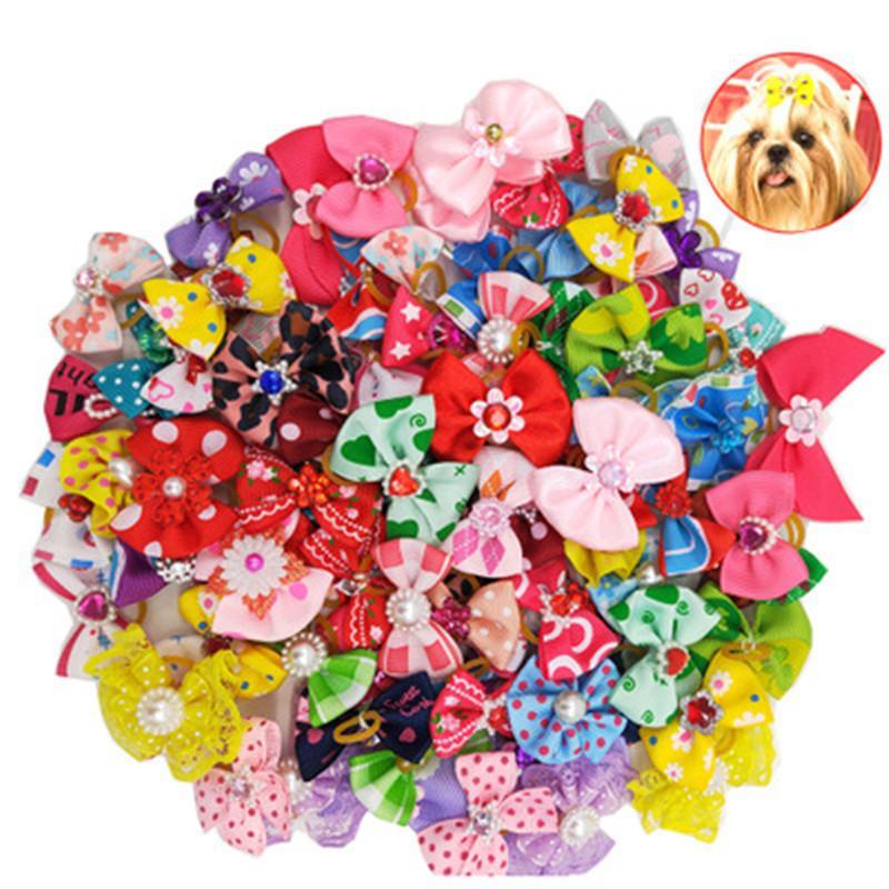 100pcs Chiens de compagnie Cheveux Bows Accessoires pour cheveux Encyclopédents Pour Party Holiday Mariage Fournitures pour animaux de compagnie
