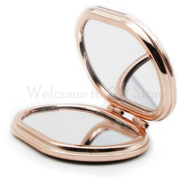 86*60mm Fashion Folded Oval Mirror Pocket 2-face Mirror Folding Portable Small Mirror Free Shipping HD007