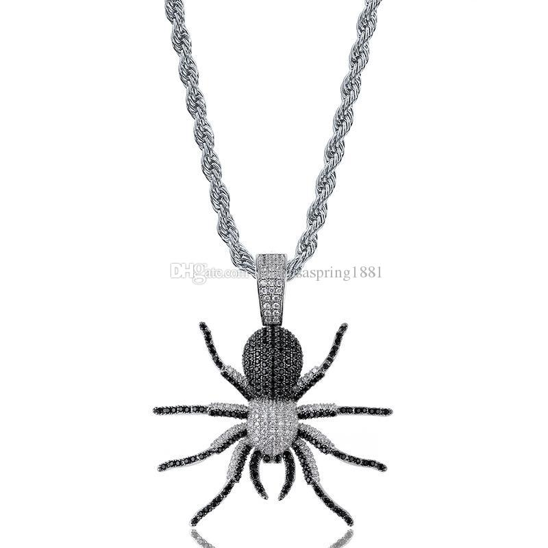 18K Gold Plated Hiphop Ant Pendants Mens Ice Out Necklace Designer Jewelry Bling Cubic Zirconia Pop Hiphop Jewellery