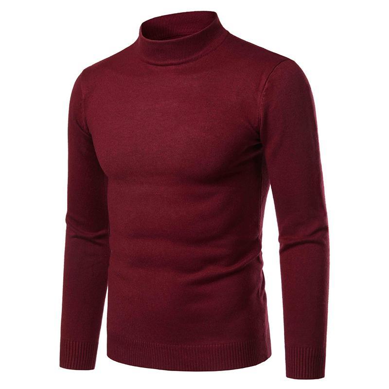 Осень теплая кашемировый свитер Мужчины Половина высокий воротник свитера мужские Slim Fit пуловер Мужчины Классический шерстяной трикотаж Прицепные Мужской