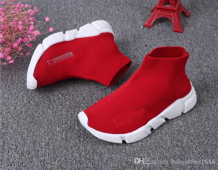 Buena calidad Rojo negro Speed Trainer Casual Shoe las muchachas del muchacho Knit-estiramiento del calcetín Botas Casual Botas Carrera Caballo barato zapatilla de deporte del top del alto size26-36