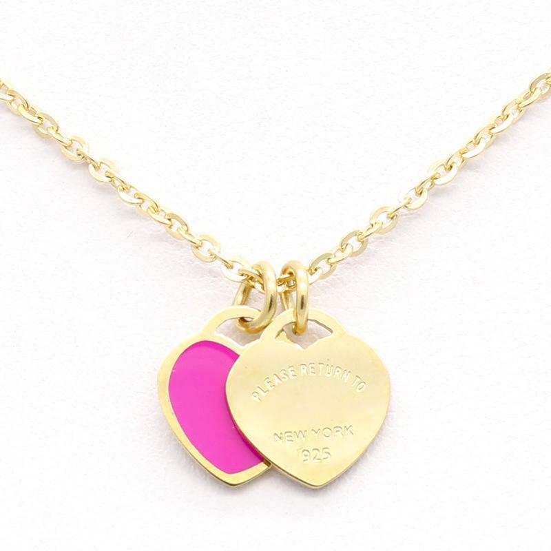 قلادة القلب قلادة القلب البروج نمط جديد jwelry الموضة للنساء الصلب المينا اللون الوردي مزدوجة قصيرة المرأة 2020 جينغيانغ
