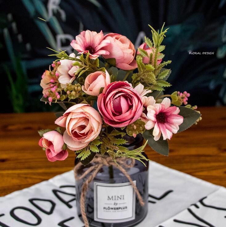 ارتفع الاصطناعي زهرة الزفاف 12 رؤساء باقة وهمية زهرة الخريف داخلي البلاستيك محاكاة الزهور الديكور المنزل 100 قطع OOA6457
