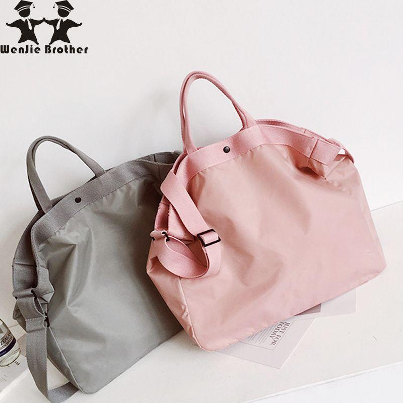 çift CJ191128 için wenjie kardeşi yeni kadın el bagajı erkekler Geniş kapasiteli seyahat hafif pembe su geçirmez spor çantası