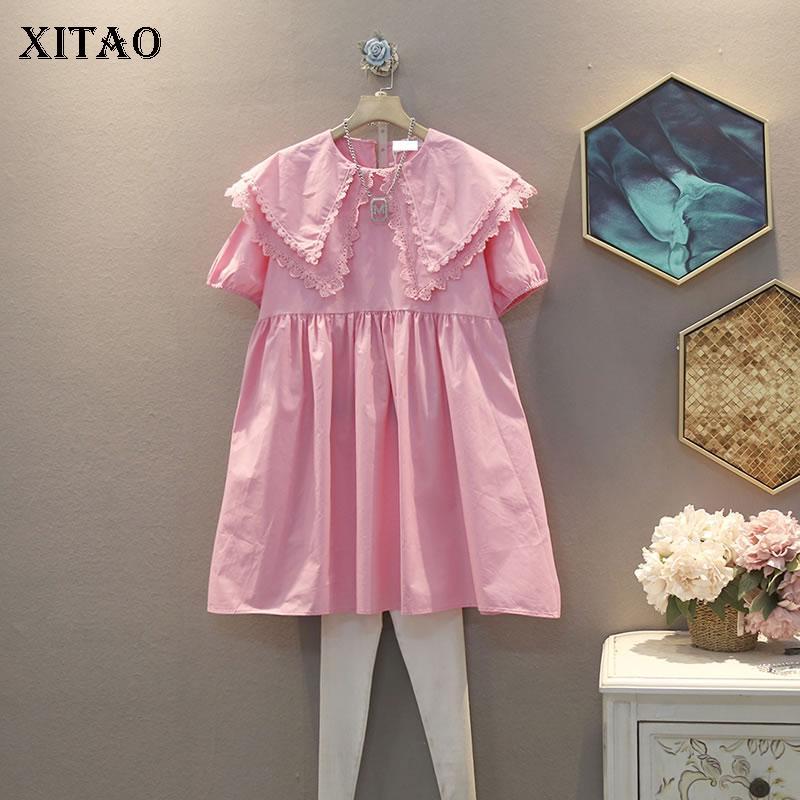 Xitao coreana Plus Size vestido plissado Roupas Femininas 2020 Verão Nova Moda Doce Double Layer vestido de manga curta DMY5003