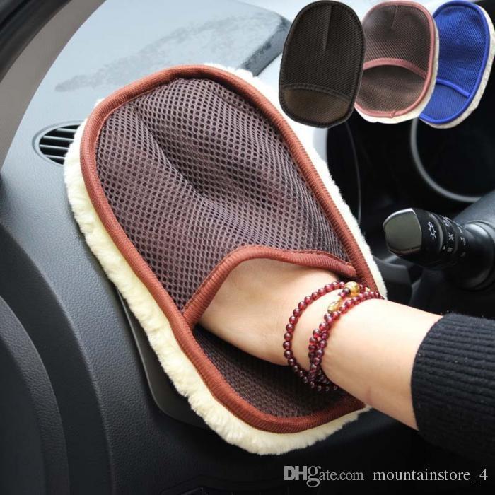 Yeni Araba Şekillendirme Yün Yumuşak Oto Yıkama Eldivenler Temizleme Fırçası Motosiklet Yıkayıcı Bakım Ürünleri (Perakende)