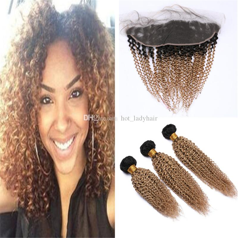 Dark Roots Honey Blonde Ombre Kinkys Curly Human Hair Bundles with Lace Frontal Closure 1B/27 Light Brown Ombre Curly Virgin Hair Frontal