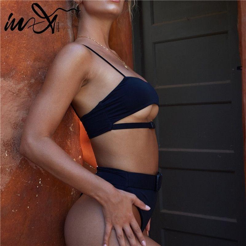 In-X Sex Sex Sex Sexy Micro bikinis 2020 Highcut swimwear women biquini Swimweel suip Solid black sue weather Beach wear suit Y200319