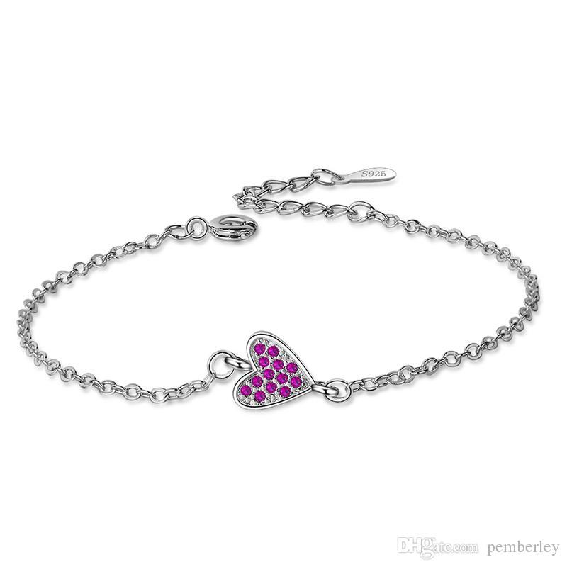 SL093 BELAWANG Hochwertige Europäische Silber Herz Anhänger Perlen Armbänder Armreifen mit Kristall Charme Perlen für Frauen DIY Schmuck mit Safe