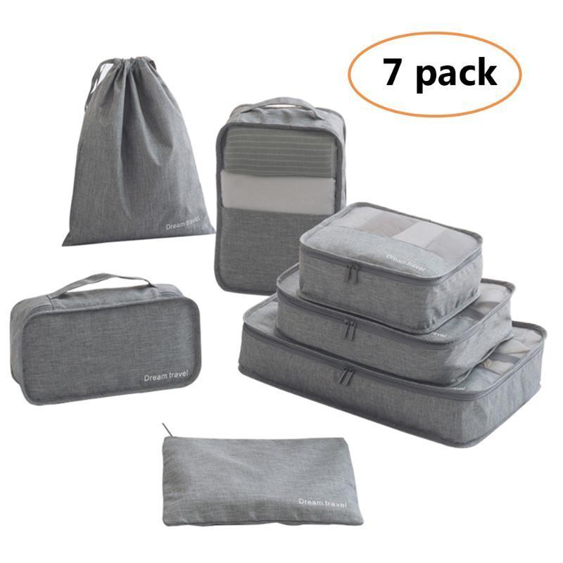 Cubos de embalaje del organizador del bolso para Viaje: embalaje del organizador del bolso para la ropa interior Zapatos Cosméticos 7pcs