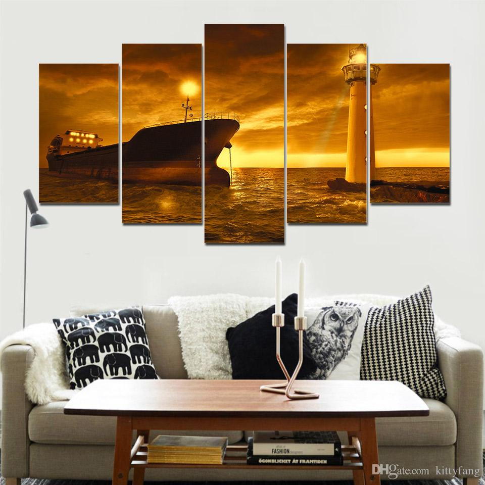 5 Pieces Wall Art Picture Gift Ship And Lighth Home Decoration Canvas Print Painting Beautiful For Living Room Printed On Canvas
