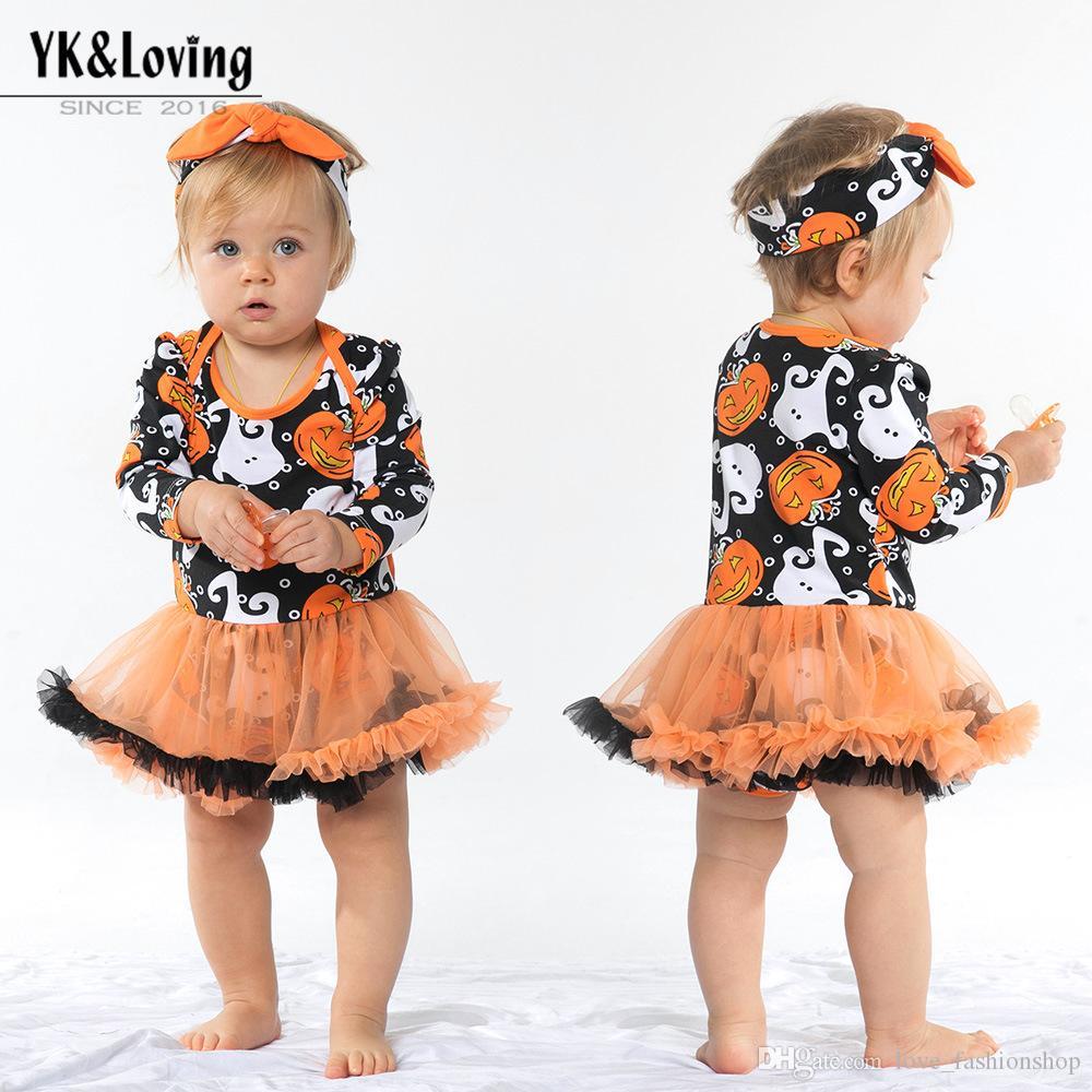 Perakende çocuk giysi tasarımcısı kızlar 2 adet kıyafetler Cadılar Bayramı baskılı romper elbise + bantlar çocuk eşofman bebek bodysuit çocuk giyim