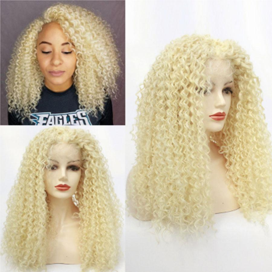 # 613 Rosa loira Kinky Curly cabelo sintético Lace Wigs da Mulher Negra longo macio macio Curls peruca de cabelo solto Curly Mulheres Africano americano