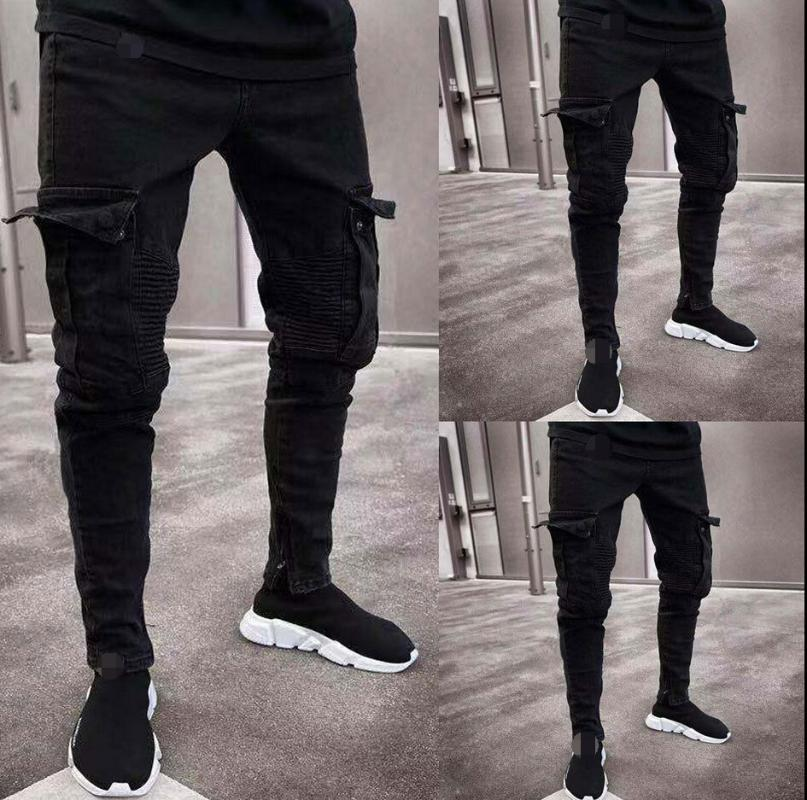 2019 Мода черный Жан Мужчины джинсовые Узкие джинсы Байкер Разрушенные Изношенные Slim Fit Карманный Грузовой карандаш Брюки Плюс Размер S-3XL