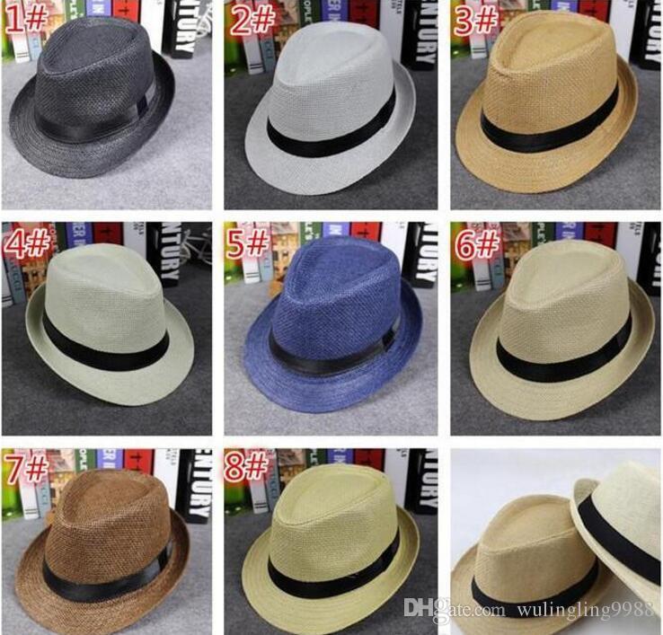 Mode Hommes Femmes Chapeaux De Paille Doux Fedora Panama Chapeaux En Plein Air Bring Brim Caps 8 Couleurs Choisissez