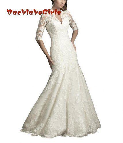 BacklakeGirls 웨딩 여성 인어 / 트럼펫 V-Neck Court Train Tulle 웨딩 드레스