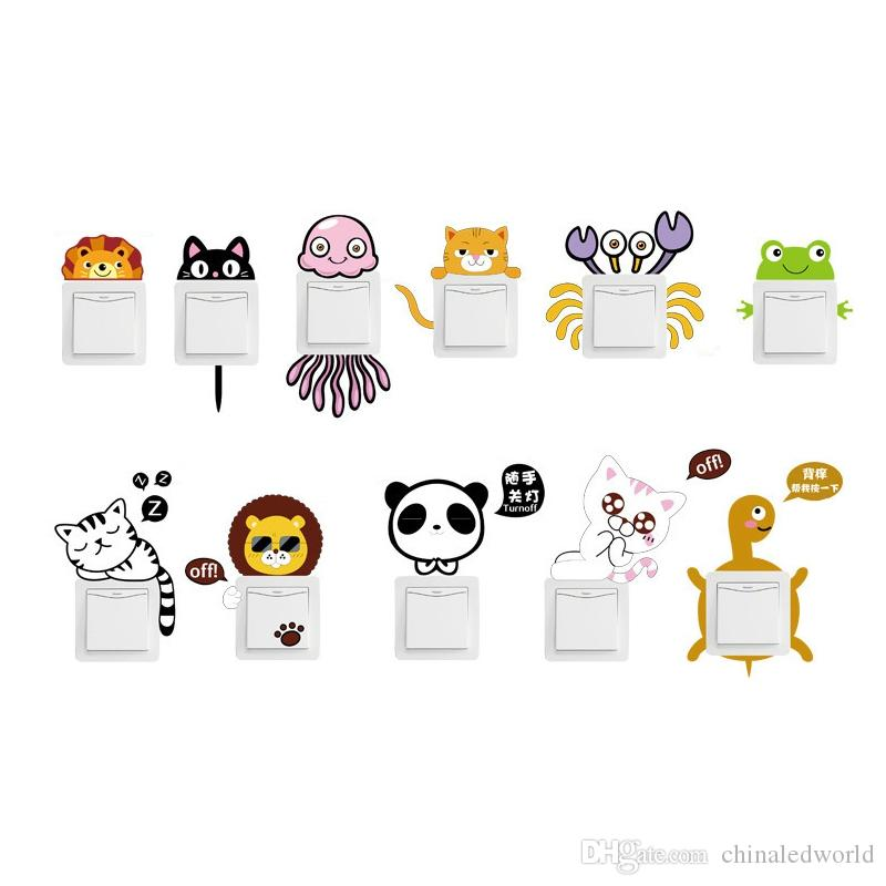 Cute Animal Pattern Light Switch Sticker For Bedroom Decoration