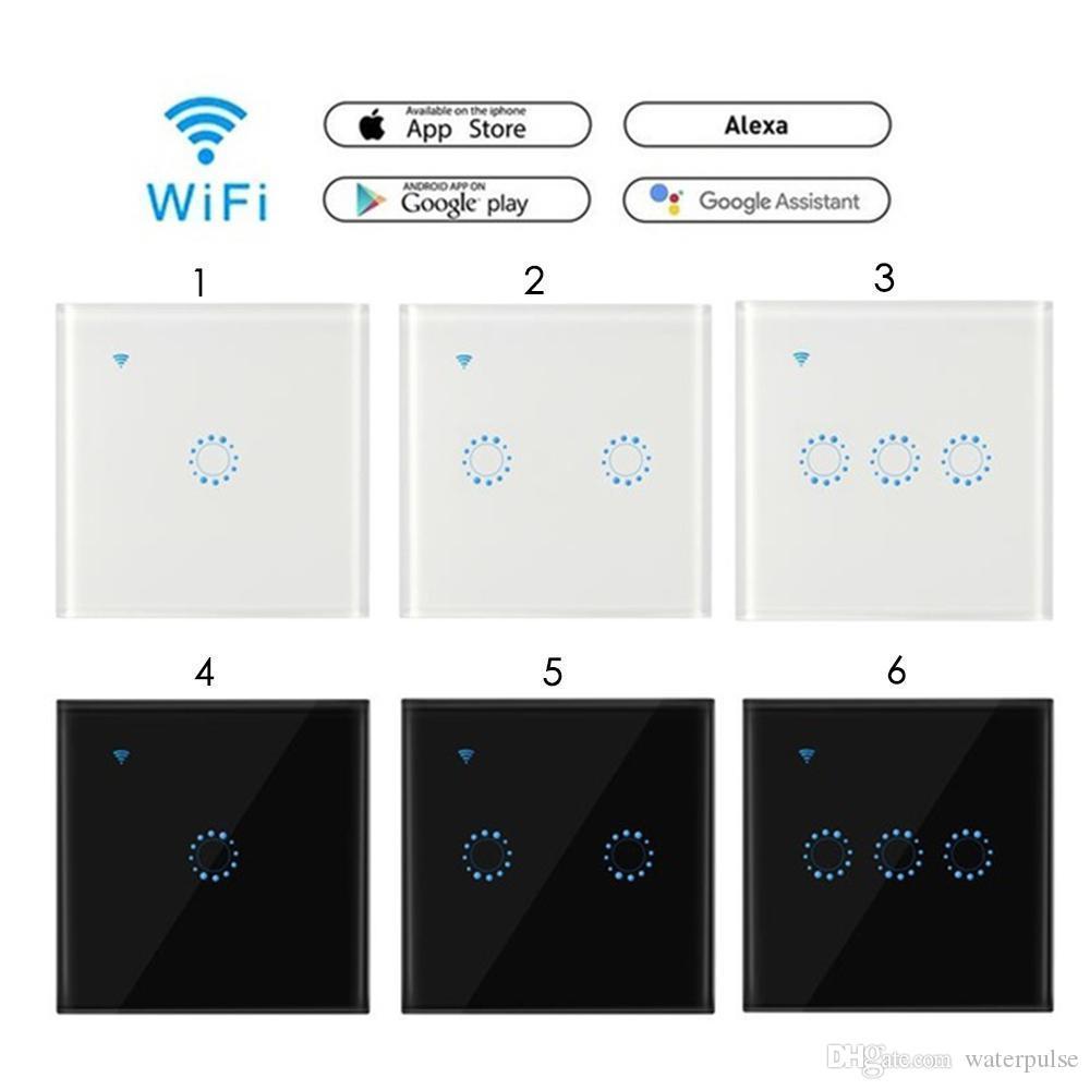 Tactile Smart Switch Light Switch Panneau mural interrupteur 1/2/3 Gang wifi interrupteur travail standard US / UE avec Alexa Accueil Google