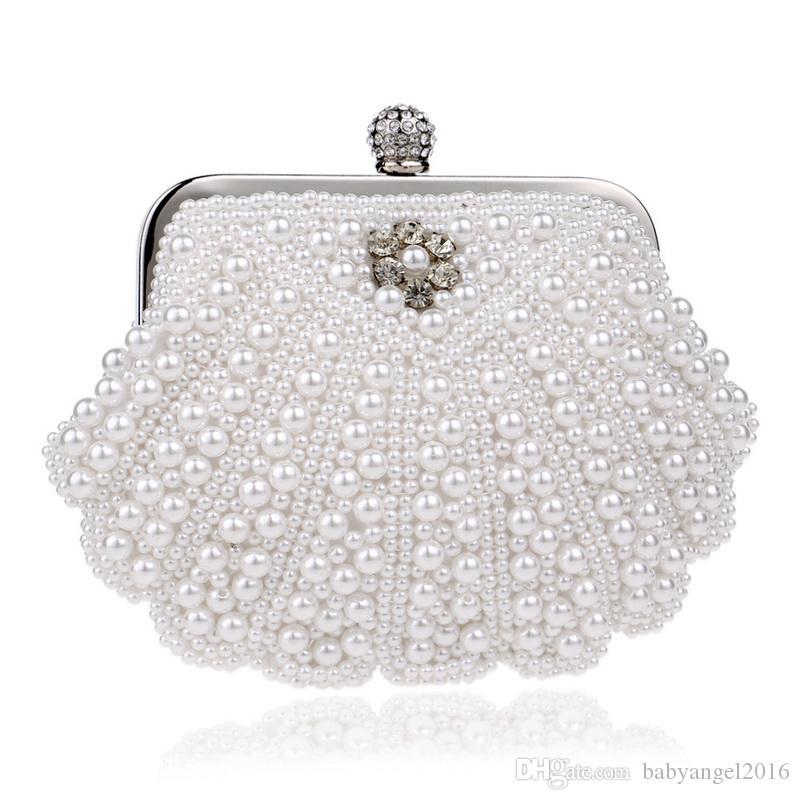 Frauen Muschel Perlen Abend Clutch Taschen Perle Imitation Diamanten kleine Tageskupplungen für Party Hochzeit Handtaschen