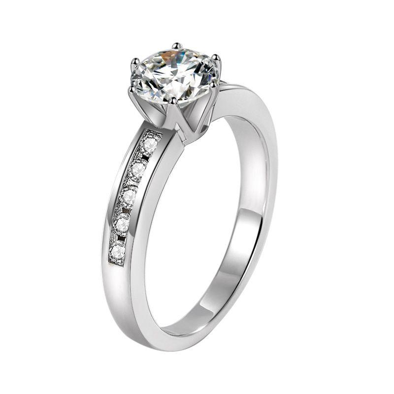 Yüksek kaliteli Klasik 1,25 Ct elmas altı pençe simülasyon elmas istifleme halka taklit morsonite taç renk alyans istinat