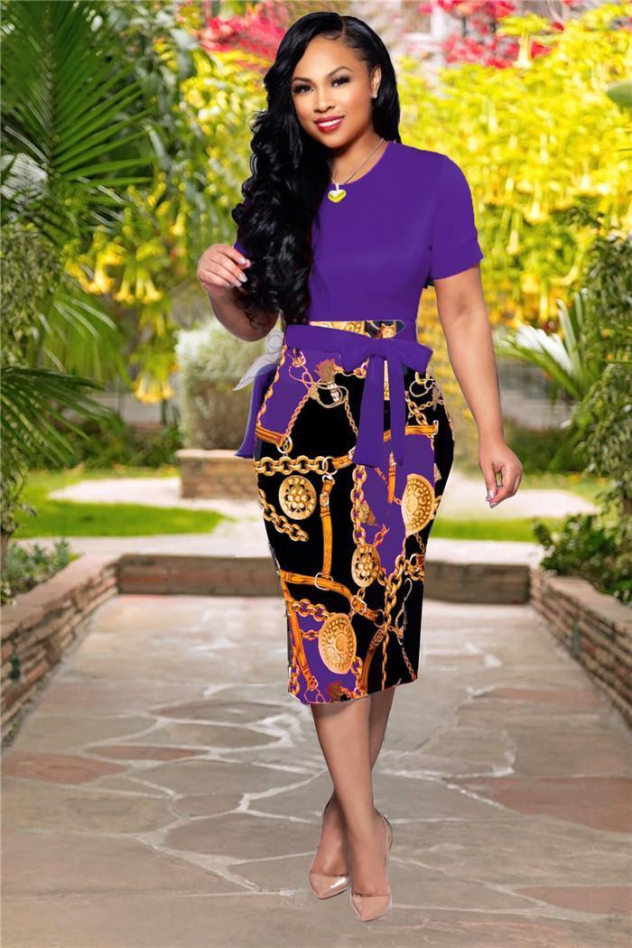 Vêtements Femmes été Designer Robes Boycon Flora ras du cou imprimé à manches courtes mode sexy style décontracté