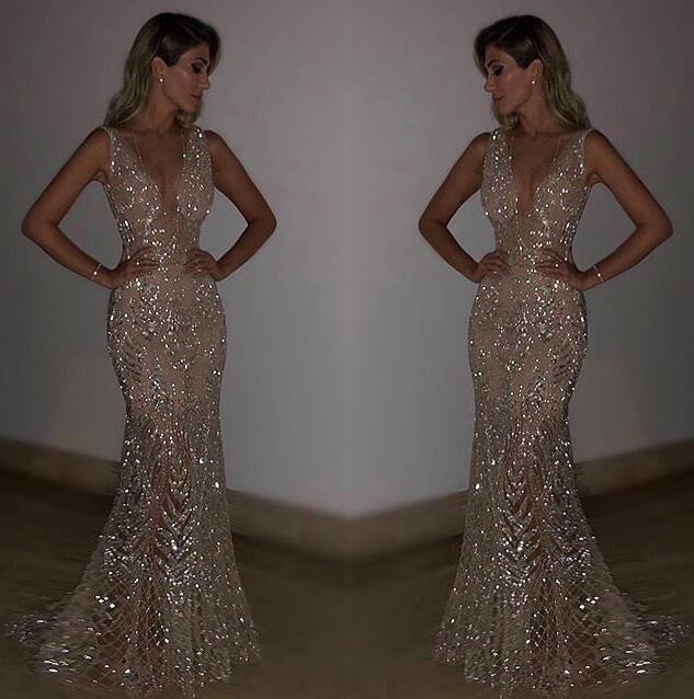 Frauen Sleeveless Abend-Partei mit tiefer V Sequin dünnem passenden langen Kleid für Cocktailparty formaler sexy elegante Kleider, figurbetonten Kleid