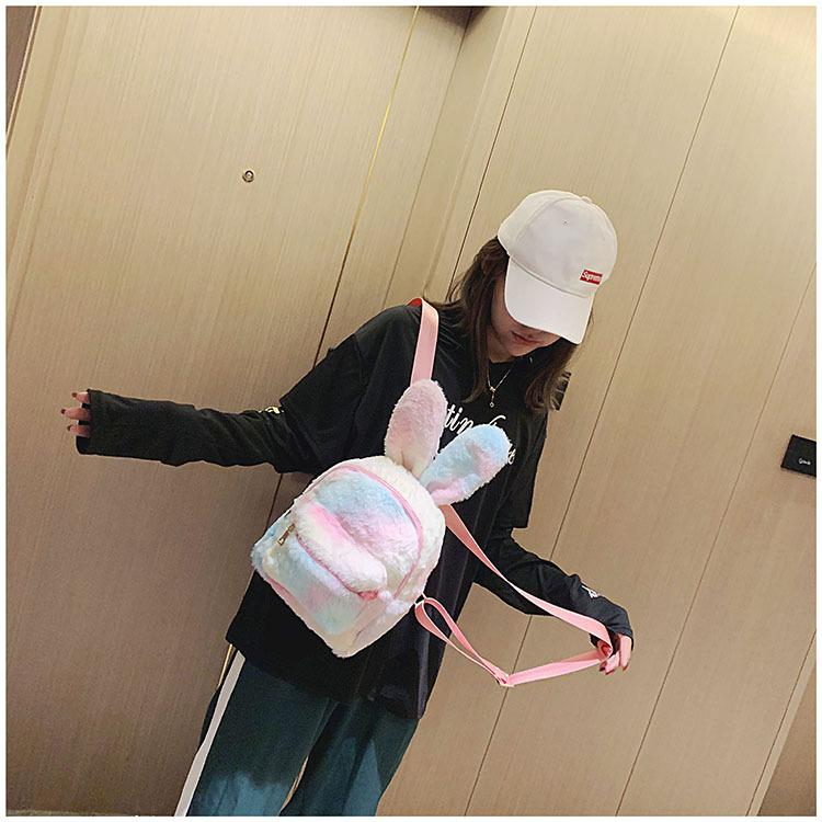 Bunny Ear Plush Backpack Girls Toy School Bags Kids Outdoor Travel Pack Student Soft Cute Rabbit Backpack