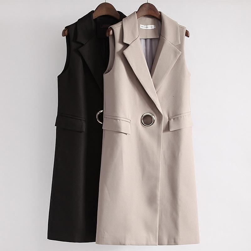 Mode Pocket Turn-bas Collier Femme Gilet long Slim Femmes Gilet Femme Printemps manches Cardigan Gilet veste