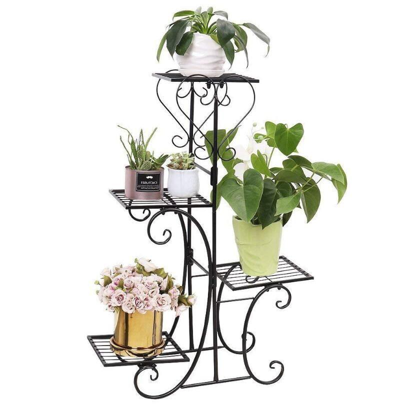 Saksı Tutucu Bitki Pot Kapalı Açık Bahçe Siyah dekorasyon için Dekorasyon Standı 4 Saksı Yuvarlak Çiçek Metal raflar LXL1141-1