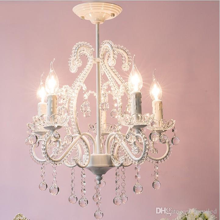 Pink or white rustic crystal beads chandelier lantern bedroom child real princess Tiffany Pendants Home Lighting Indoor Lamp LLFA