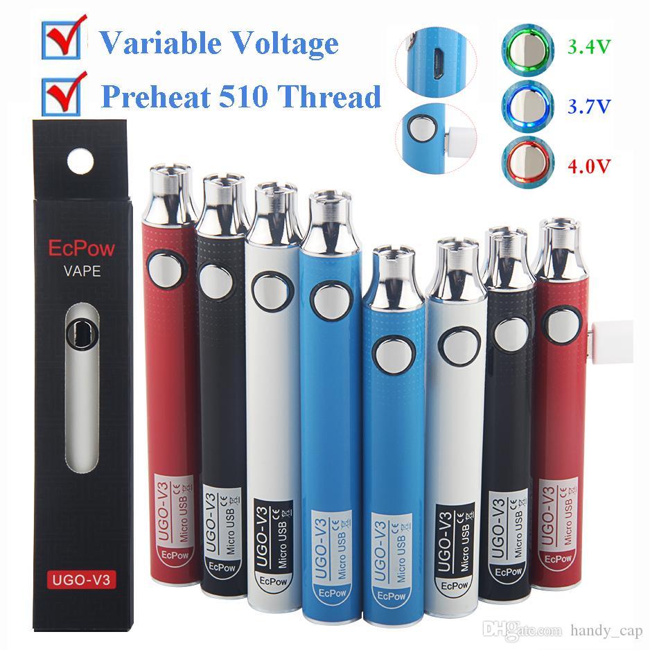 UGO-V3 Vape Battery 900mAh 510 Tópico Pré-aqueça o vaporizador Pen Bateria Baterias de tensão variável com cabo Micro USB para o atomizador Cartuchos