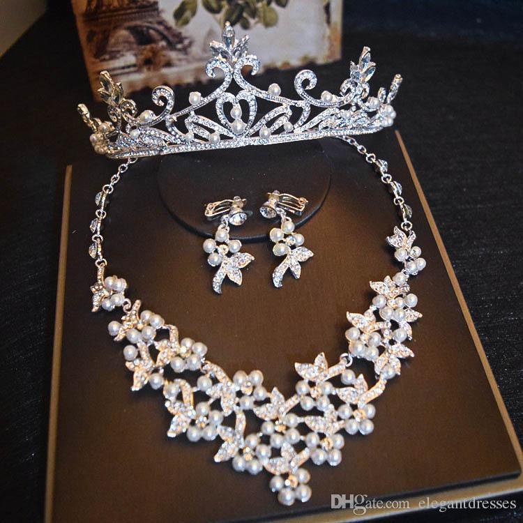 Nuevo diseño de lujo cristalino de la novia de la corona Headwear conjunto de aretes de lujo de la perla de la corona de estilo coreano Jewerly Sets para damas