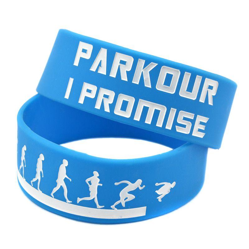 OBH 25PCS Bir İnç Geniş Parkour ben Promise Silikon Kauçuk Bileklik