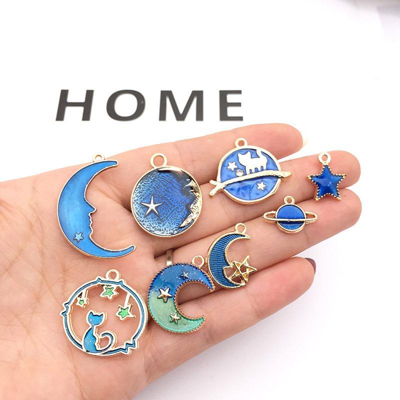 Эмаль Луна Звезда подвески подвески DIY браслет ожерелье милый брелок серьги для женщин ювелирные изделия Поиск подарок