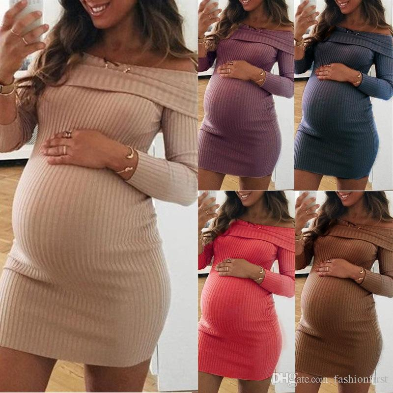 New Design Gown Fitted Maternity Casual Dress Long Sleeve Maternity Off the shoulder Dress Slim Mini Midi Dresses