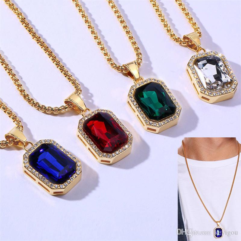 Hombres Hip hop Colgante Mujeres Moda Oro Iced Out Rhinestone Mini Square Red Blue Gem Crystal Cuban Necklace