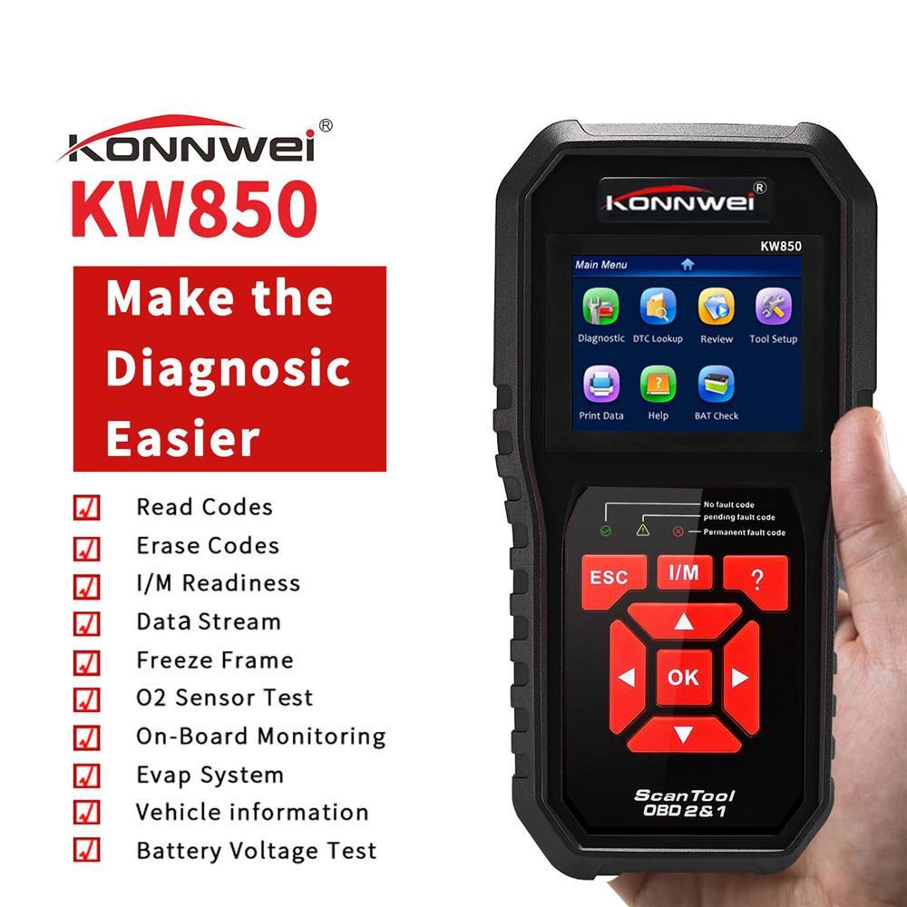 أدوات KW850 السيارات السيارات التشخيص OBD2 الماسح الضوئي تشخيص السيارات سكانر المهنية السيارات OBD2 ل