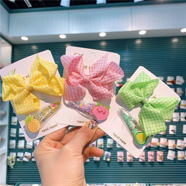 M MISM Cute Plaid Bow-knot Hair Clips Set Girls Women Cute Romantic Cartoon Hair Accessories Modish Bow Tie Hairpins