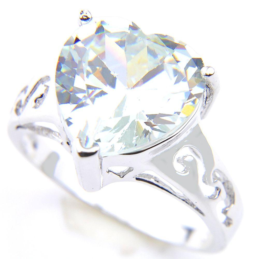 Qualität 925 silberne Hochzeit Ringe schneiden Herz-Weiß Topaz Edelsteine für Frauen Mode-Verpflichtungs-Geschenk Schmuck Ringe