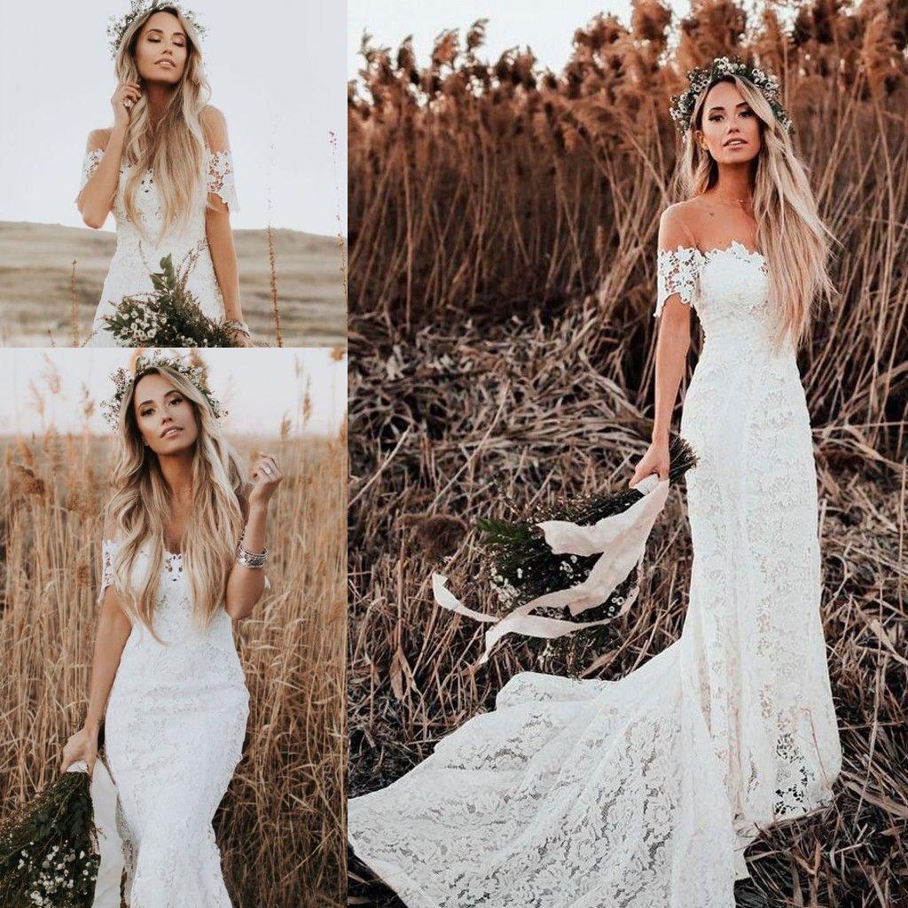 2019 Amante Da Sociedade Sereia Vestidos De Casamento Modest Civil Vintage Crochet Lace Fora Do Ombro País Farm Jardim Boho Fishtail Vestido De Noiva