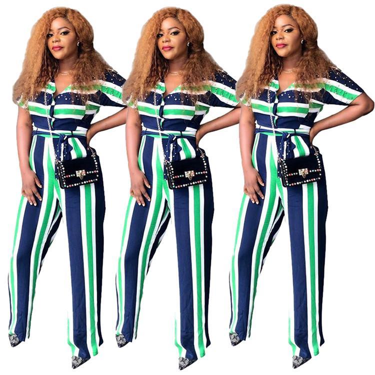 Top qualité Casual Femmes Romper coloré rayé Flare lacent Jumpsuit fournisseur en Chine Mode