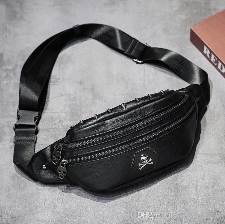 wholesale men handbag multifunctional outdoor leisure men messenger bag new leather fitness men shoulder bag street trend rivet pockets