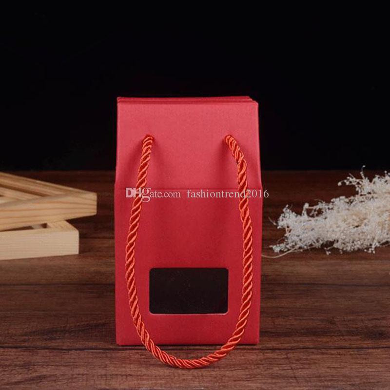 الأحمر كرافت ورقة علب الهدايا حلوى زفاف صندوق الخبز الشاي الغذاء التعبئة مربعات