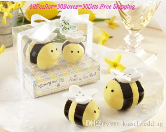 60PCS / الكثير (30sets) استحمام الطفل هدية الأم وأنا حلوة كما يمكن عسل النحل النحل الملح والفلفل الهزازات الطفل صالح لصالح الطرف عيد ميلاد طفل