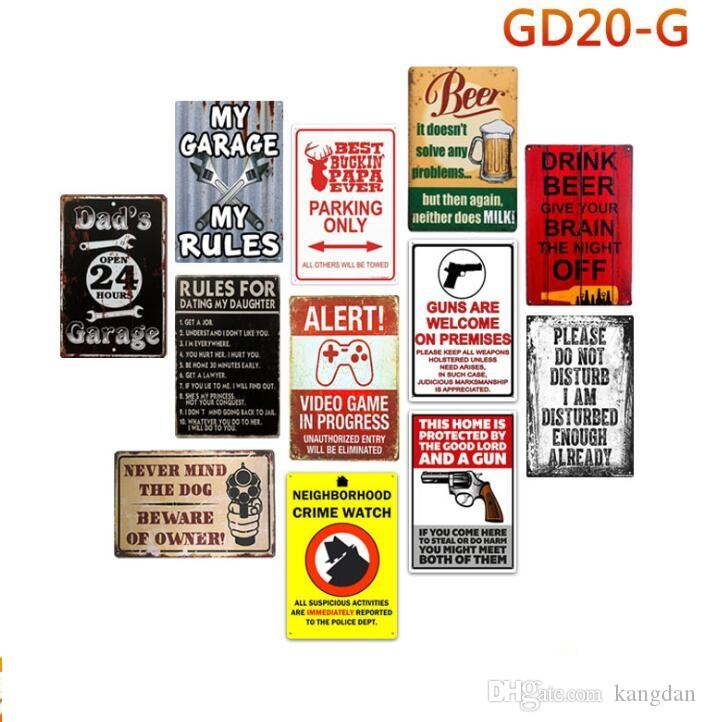 Bar da família do vintage loja garagem regras de lata sinal de cuidado com o proprietário de metal pintura parede poster aviso de perigo chique sinais de metal antigo