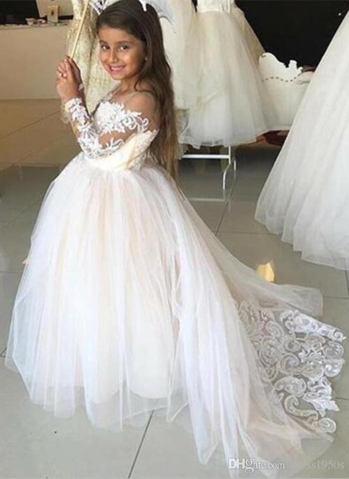 Прекрасные платья для девочек-цветочниц на свадьбу с длинными рукавами Аппликации Кружева Первое причастие Девушки Конкурсное платье